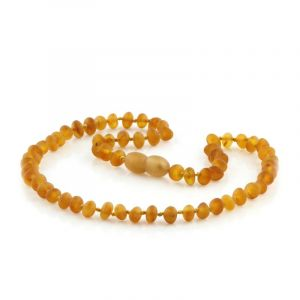 Semi Polished Baltic Amber Teething Necklace. Baroque Light Cognac Matt 5x4 mm