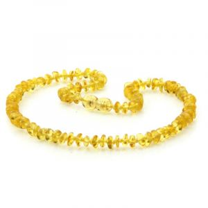 Baltic Amber Teething Necklace. Round Flat Yellow 5x2 mm