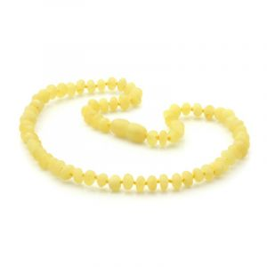 Semi Polished Baltic Amber Teething Necklace. Round Flat Milky Yellow Matt 5x3 mm