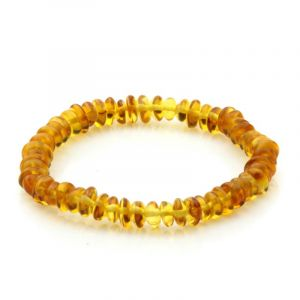 Adult Baltic Amber Bracelet. Round Flat Light Cognac 5x3 mm