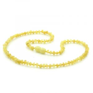 Adult Baltic Amber Necklace. Baroque Milky Yellow 4x3 mm