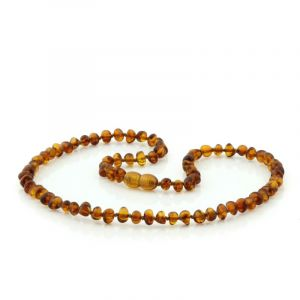 Adult Baltic Amber Necklace. Baroque Cognac 5x4 mm