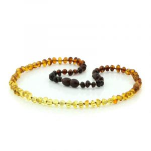 Adult Baltic Amber Necklace. Baroque Rainbow V2 5x4 mm