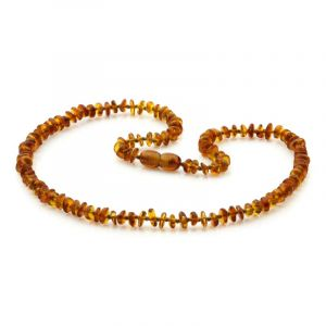 Adult Baltic Amber Necklace. Round Flat Cognac 5x2 mm