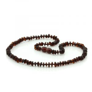 Adult Baltic Amber Necklace. Round Flat Dark Cognac 5x2 mm