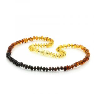 Adult Baltic Amber Necklace. Round Flat Rainbow V1 5x3 mm