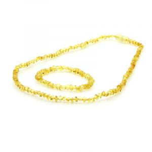 Adult Baltic Amber Necklace & Bracelet Set. Baroque Yellow 4x3 mm