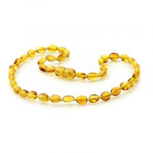 Baltic Amber Teething Necklace. Olive Light Cognac 5x4 mm