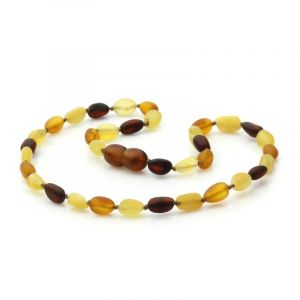 Semi Polished Baltic Amber Teething Necklace. Olive Multicolor Matt 5x4 mm