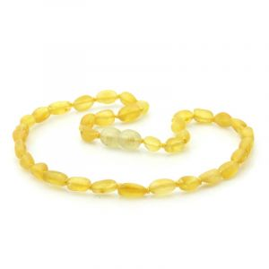 Semi Polished Baltic Amber Teething Necklace. Olive Yellow Matt 5x4 mm
