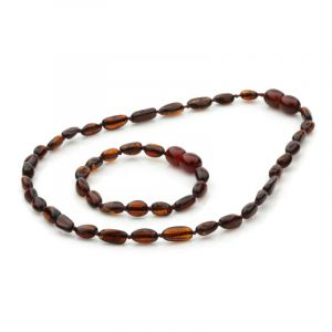 Baltic Amber Teething Necklace & Bracelet Set. Olive Dark Cognac 5x4 mm