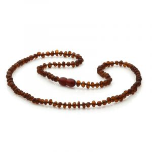 Adult Semi Polished Baltic Amber Necklace. Baroque Dark Cognac Matt 4x3 mm