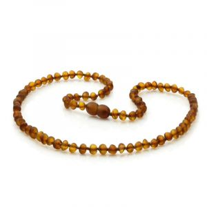 Adult Semi Polished Baltic Amber Necklace. Baroque Cognac Matte 5x4 mm