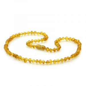 Adult Semi Polished Baltic Amber Necklace. Baroque Light Cognac Matt 5x4 mm