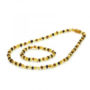 Adult Semi Polished Baltic Amber Necklace & Bracelet Set. Baroque Multicolor 5x4 mm