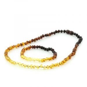 Adult Baltic Amber Necklace & Bracelet Set. Baroque Rainbow V2 5x4 mm