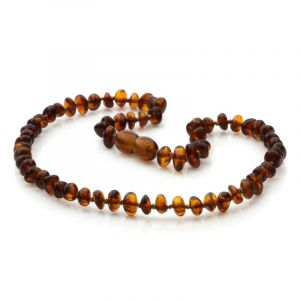 Baltic Amber Teething Necklace. Round Flat Cognac 5x3 mm