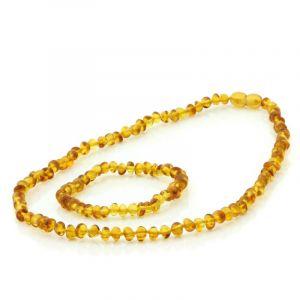 Adult Baltic Amber Necklace & Bracelet Set. Baroque Light Cognac 5x4 mm