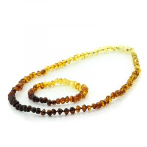 Adult Baltic Amber Necklace & Bracelet Set. Baroque Rainbow V1 5x4 mm