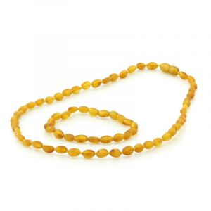 Adult Semi Polished Baltic Amber Necklace & Bracelet Set. Olive Light Cognac 5x4 mm