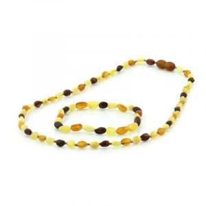 Adult Semi Polished Baltic Amber Necklace & Bracelet Set. Olive Multicolor 5x4 mm
