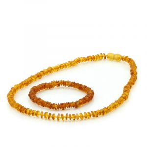 Adult Baltic Amber Necklace & Bracelet Set. Round Flat Light Cognac 5x2 mm