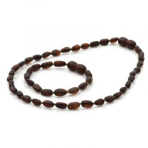 Semi Polished Baltic Amber Teething Necklace & Bracelet Set. Olive Dark Cognac Matt 5x4 mm
