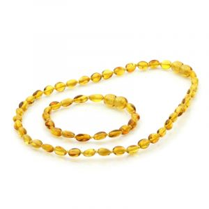 Baltic Amber Teething Necklace & Bracelet Set. Olive Light Cognac 5x4 mm