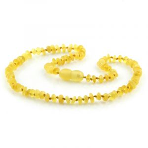 Semi Polished Baltic Amber Teething Necklace. Round Flat Milky Yellow Matte 4x2 mm