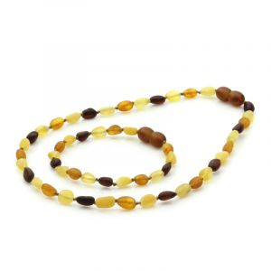 Semi Polished Baltic Amber Teething Necklace & Bracelet Set. Olive Multicolor Matt 5x4 mm