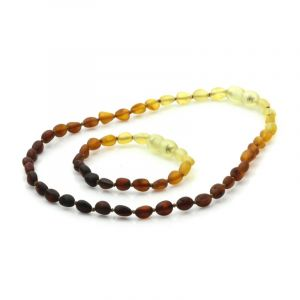 Semi Polished Baltic Amber Teething Necklace & Bracelet Set. Olive Rainbow V1 Matt 5x4 mm
