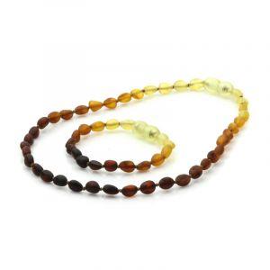 Semi Polished Baltic Amber Teething Necklace & Bracelet Set. Olive Rainbow V1 Matt 5x4 mm