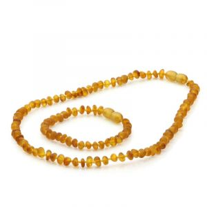 Semi Polished Baltic Amber Teething Necklace & Bracelet Set. Round Flat Light Cognac Matt 5x3 mm