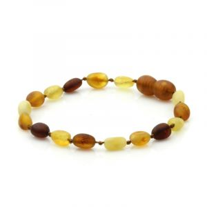 Semi Polished Baltic Amber Teething Bracelet. Olive Multicolor Matt 5x4 mm