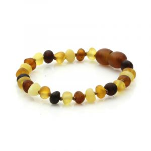 Semi Polished Baltic Amber Teething Bracelet. Baroque Multicolor Matt 5x4 mm