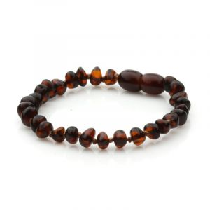 Baltic Amber Teething Bracelet. Baroque Dark Cognac 5x4 mm