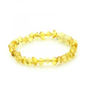 Baltic Amber Teething Bracelet. Baroque Yellow 5x4 mm