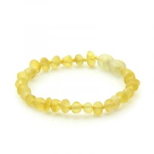 Semi Polished Baltic Amber Teething Bracelet. Baroque Yellow Matt 5x4 mm