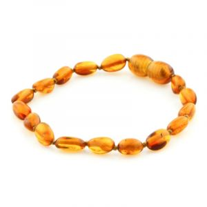 Baltic Amber Teething Bracelet. Olive Cognac 5x4 mm