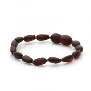 Semi Polished Baltic Amber Teething Bracelet. Olive Dark Cognac Matt 5x4 mm