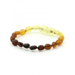 Semi Polished Baltic Amber Teething Bracelet. Olive Rainbow V1 Matt 5x4 mm