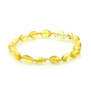 Baltic Amber Teething Bracelet. Olive Yellow 5x4 mm