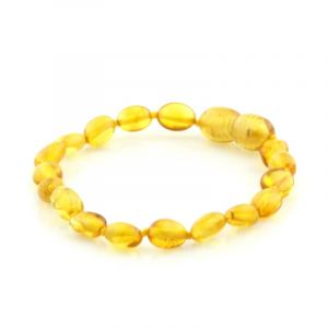 Baltic Amber Teething Bracelet. Olive Light Cognac 5x4 mm