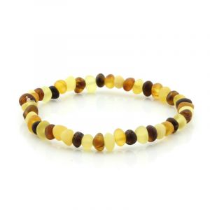 Adult Semi Polished Baltic Amber Bracelet. Baroque Multicolor Matt 5x4 mm