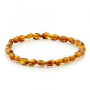 Adult Baltic Amber Bracelet. Olive Cognac 5x4 mm