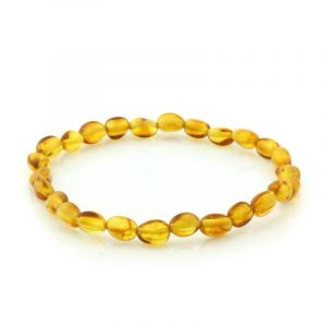 Adult Baltic Amber Bracelet. Olive Light Cognac 5x4 mm