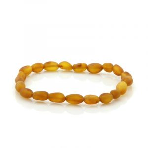 Adult Semi Polished Baltic Amber Bracelet. Olive Light Cognac Matt 5x4 mm
