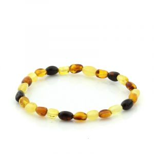 Adult Baltic Amber Bracelet. Olive Multicolor 5x4 mm