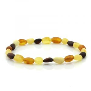 Adult Semi Polished Baltic Amber Bracelet. Olive Multicolor Matt 5x4 mm