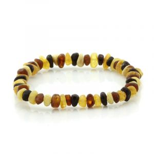 Adult Raw Baltic Amber Bracelet. Round Flat Multicolor Rough 5x3 mm